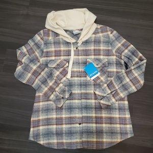 Columbia Hooded Flannel Plaid Shirt Jacket